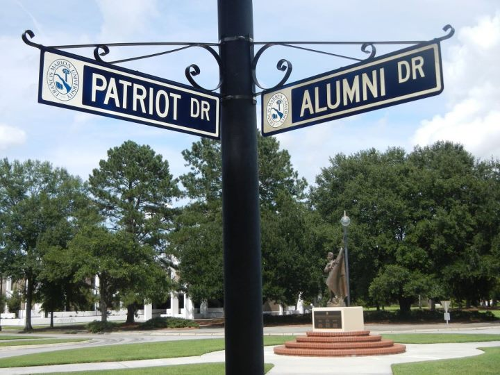 Patriot Drive campus sign